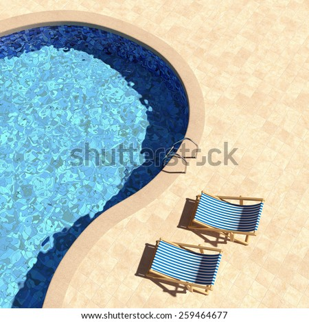 Swimming Pool With Deckchairs Top View 3D Render