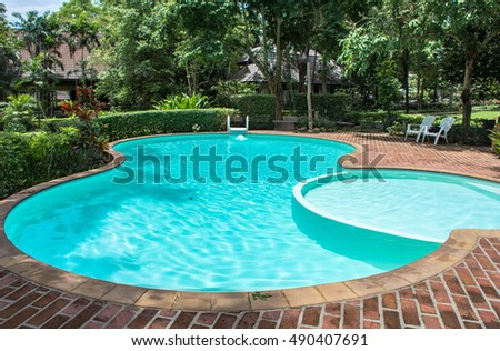 Swimming pool with view garden