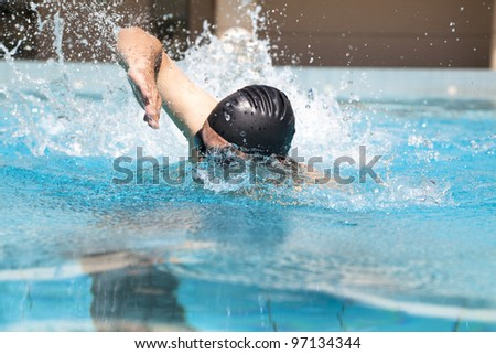 Swimming with freestyle - stock photo