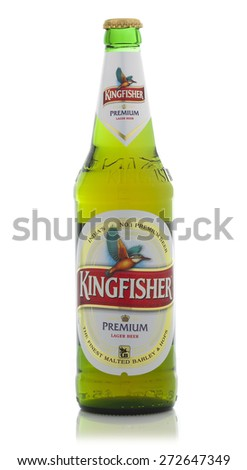 SWINDON, UK - APRIL 2, 2015: Bottle of Kingfisher Beer on a White background, Kingfisher is the Number one beer of India - stock photo