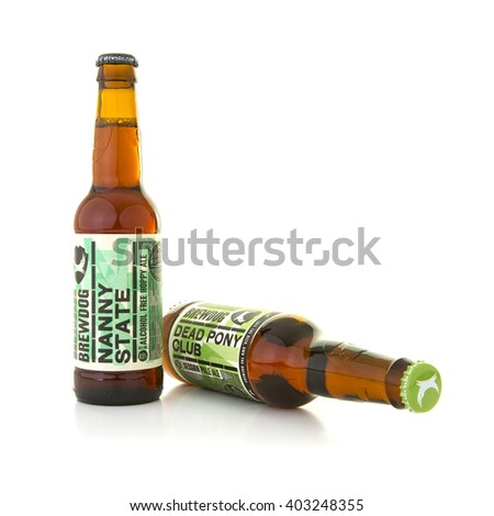 SWINDON, UK - APRIL 10, 2016:Brewdog Nanny State and Dead Pony Club bottled beers on a white background with copy space