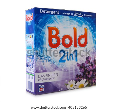 SWINDON, UK - APRIL 13, 2016: Packet of Bold 2 In 1 Lavender & Camomile Detergent and Fabric Softener, Bold is Manufactured by Procter & Gamble - stock photo