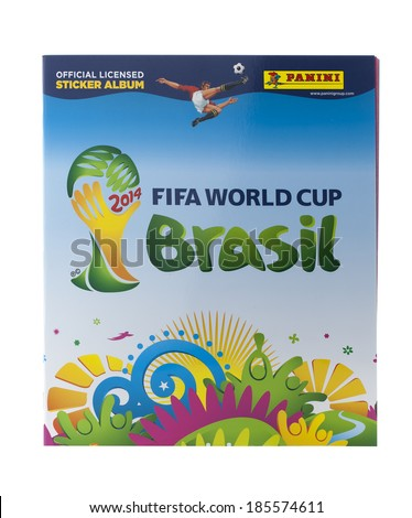 SWINDON, UK - APRIL 5, 2014: Panini FIFA World Cup 2014 Official  Licensed StickerAlbum  on a white background - stock photo