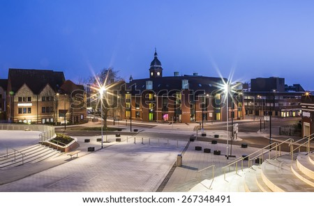 SWINDON, UK - APRIL 6, 2015: The New Central Libaray in Swindon, viewed from  Regent Circus Swindon's new leisure destination - stock photo