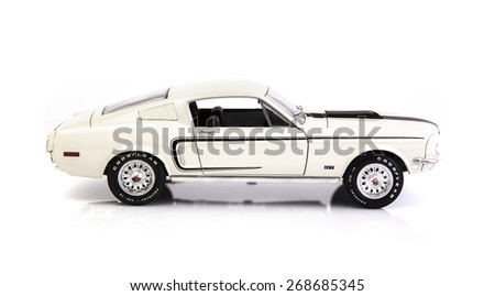 SWINDON, UK - APRIL 12, 2015: White Ford Mustang GT Fastback on a White Background