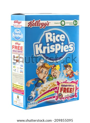 SWINDON, UK - AUGUST 2, 2014: Box of Kelloggs Rice Krispies on a white background  - stock photo