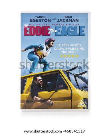 SWINDON, UK - AUGUST 2, 2016: Eddie The Eagle DVD on a White Background Eddie The Eagle