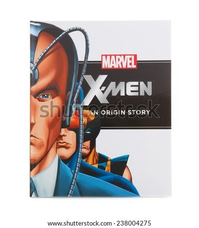 SWINDON, UK - DECEMBER 16, 2014:MARVEL Book X-MEN an Origin Story on a White background - stock photo