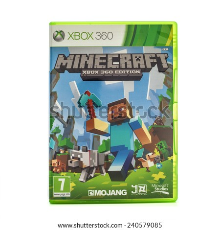 SWINDON, UK - DECEMBER 30, 2014: Minecraft game for the Xbox Console on a White Background , Developed by Swedish programmer Markus Persson