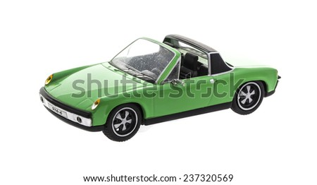 SWINDON, UK - DECEMBER 13, 2014:Old Scale Model  Porsche 914-6  Cabriolet on a white background