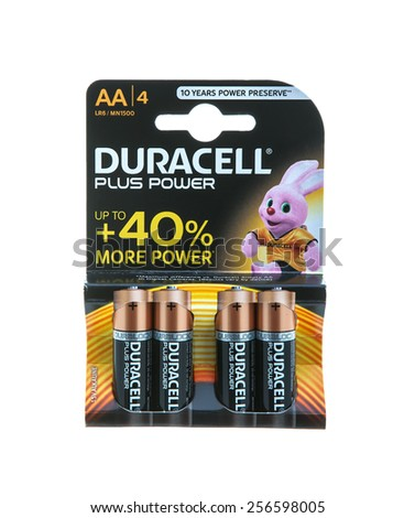 SWINDON, UK -FEBRUARY 20, 2015: Pack of Duracell  AA Batteries, Duracell is an American brand of batteries and smart power solutions manufactured by Procter & Gamble - stock photo
