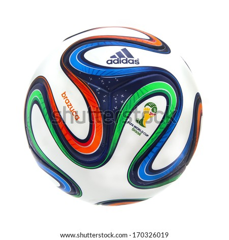 SWINDON, UK - JANUARY 8, 2014: Adidas Brazuca World Cup 2014 Football, The Official FIFA Matchball for the 2014 World Cup - stock photo