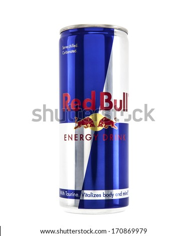SWINDON, UK - JANUARY 12 2014: Can of Red Bull Energy Drink on white background - stock photo