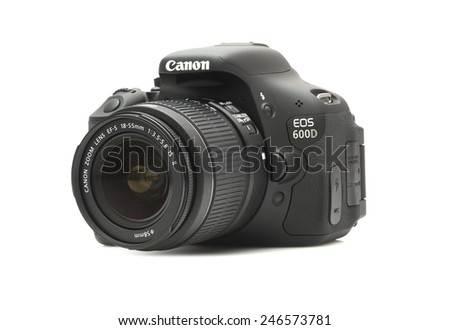 SWINDON, UK - JANUARY 24, 2015:  Canon 600D DSLR Camera on a White Background - stock photo