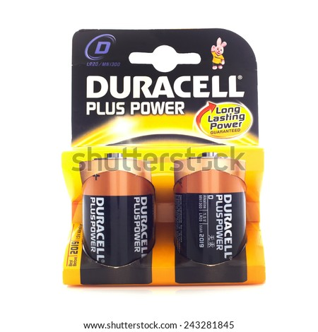 SWINDON, UK - JANUARY 11, 2015:Pack of Duracell C Cell Batteries, Duracell is an American brand of batteries and smart power solutions manufactured by Procter & Gamble - stock photo