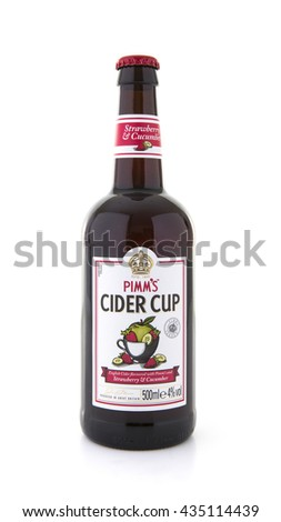 SWINDON, UK - JUNE 3, 2016: Bottle of Pimms Cider Cup on a white background - stock photo
