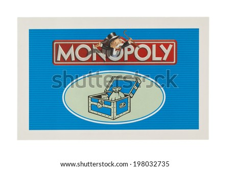 SWINDON, UK - JUNE 11, 2014: English Edition of Monopoly showing Community Chest Card,  The classic trading game from Parker Brothers was first introduced to America in 1935.  - stock photo