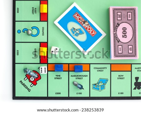 SWINDON, UK - JUNE 11, 2014: English Edition of Monopoly showing The Jail,  The classic trading game from Parker Brothers was first introduced to America in 1935.  - stock photo