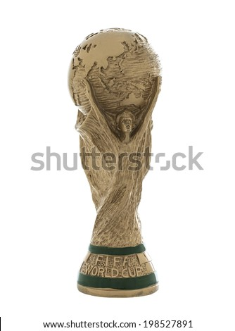 "SWINDON, UK - JUNE 14, 2014: FIFA World Cup Trophy on a white Background,  ""FIFA World Cup Trophy"", was introduced in 1974. Made of 18 carat gold with a malachite base"