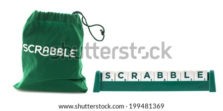 "SWINDON, UK - JUNE 12, 2014: Scrabble Tile Bag from the Word Game withe the word ""Scrabble"" on a White Background"