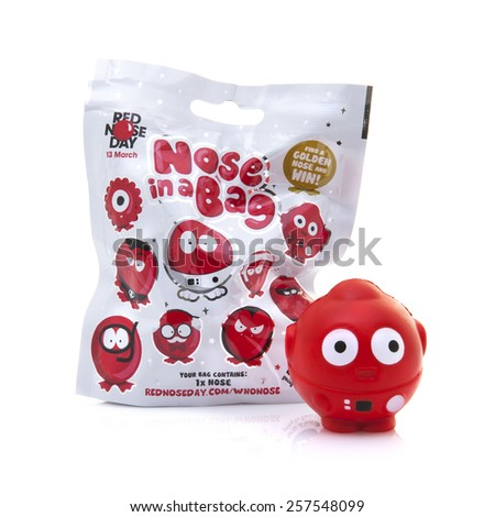 SWINDON, UK - MARCH 3, 2015: Red Nose Day - Nose in a Bag for the Comic Relief fund-raising day on 13 March 2015 - stock photo