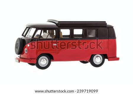 SWINDON, UK - MAY 25, 2014:Old VW Van Made By Corgi on a White Background - stock photo