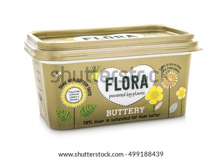 SWINDON, UK - OCTOBER 1, 2016:Flora Buttery Powered By Plants on a white background