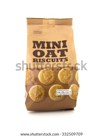 SWINDON, UK - OCTOBER 27, 2015: Packet of Marks And Spencer Mini Oat Biscuits on a White Background - stock photo