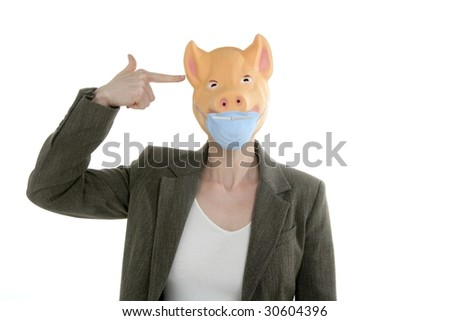Swine flu metaphor, woman with piggy mask and finger gun - stock photo