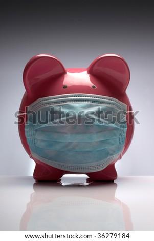 Swine flu pig H1N1 wearing protective mask - stock photo