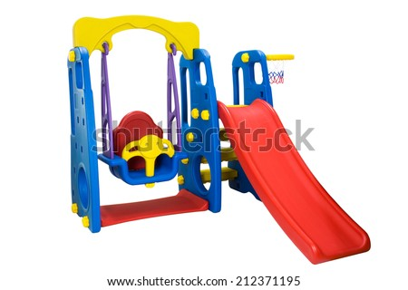 swing and slider playground - stock photo