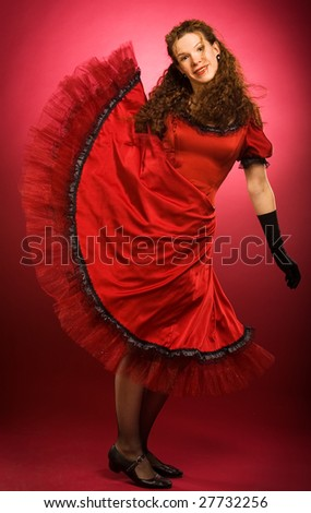 Swing dancer on red background - stock photo