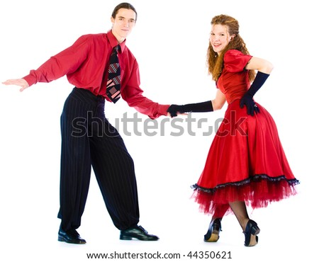 Swing dancers isolated on white - stock photo