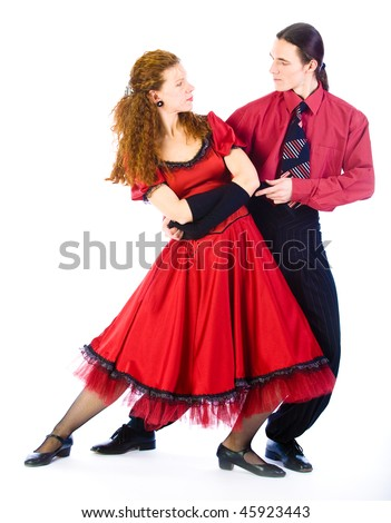 Swing dancers on white background - stock photo