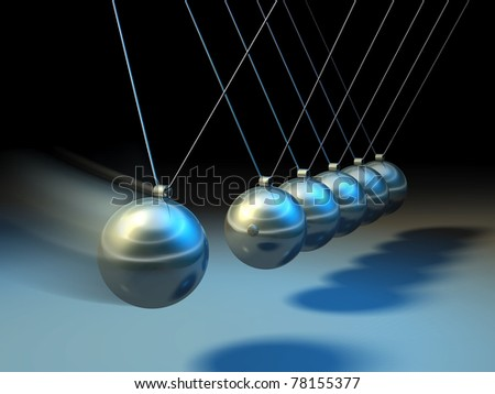 Swinging spheres demonstrate law of physics. Digital illustration. - stock photo