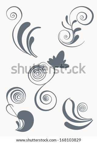 Swirl and floral elements in various styles  - stock photo