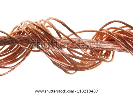 Swirl copper wire isolated on white background - stock photo