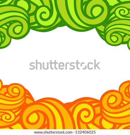 swirl curly card template with place for your text