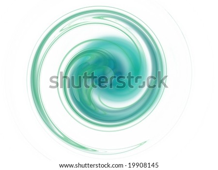 Swirl in aquatic colors, with a sphere in the middle - stock photo