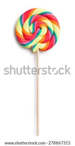 swirl lollipop on white background - stock photo