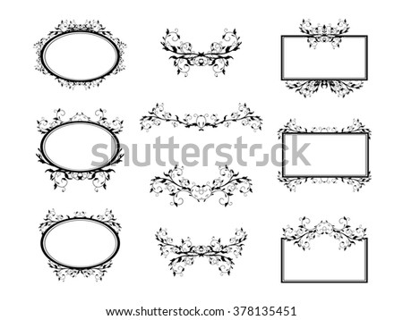 Swirl Monograms Border And Frames Collection For Decoration, Copyspace - stock photo