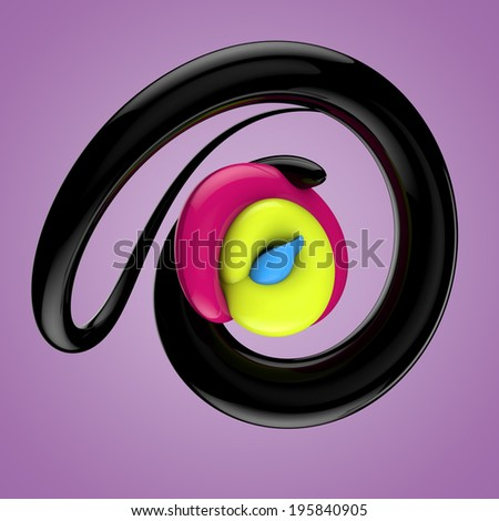 Swirled 3d glossy colorful lines - stock photo