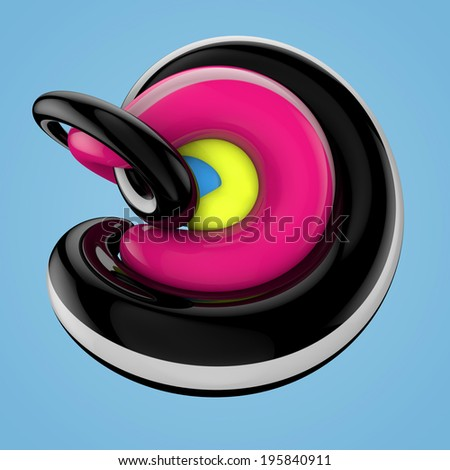 Swirled 3d glossy colorful lines and shapes - stock photo