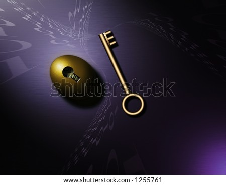 Swirling binary code, a gold key and nestegg - stock photo