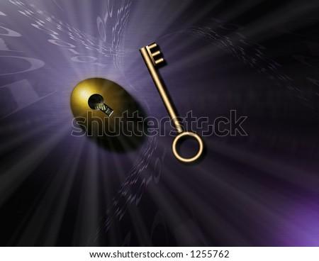 Swirling binary code, a gold key and nestegg - stock photo