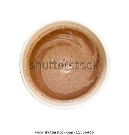 Swirling frothy hot chocolate with milk isolated on white background - stock photo