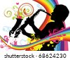 Swirling rainbow illustration with saxophonist - stock vector