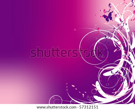 Swirls and a butterfly on a pink and purple background - stock photo