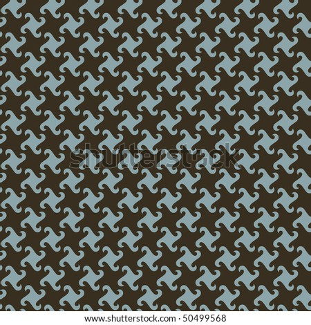 Swirly houndstooth pattern in blue and brown. - stock photo