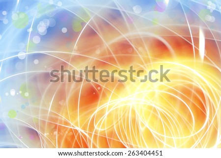 Swirly lines blue and orange background - stock photo